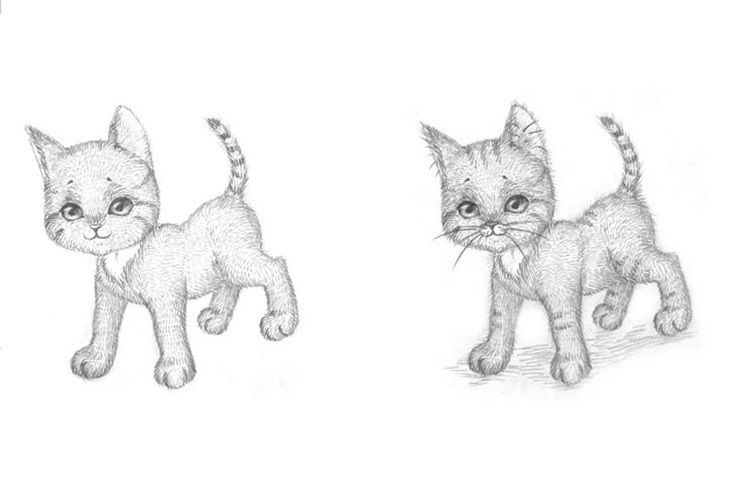 Второй этап рисования котенка