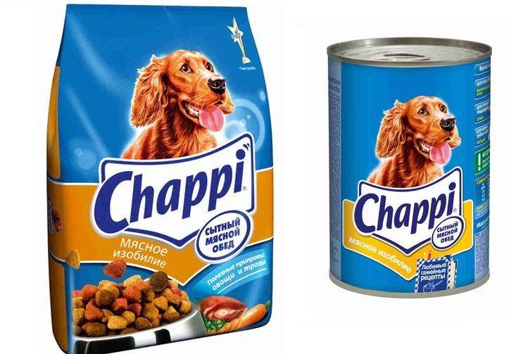 Пакет и банка корма Чаппи