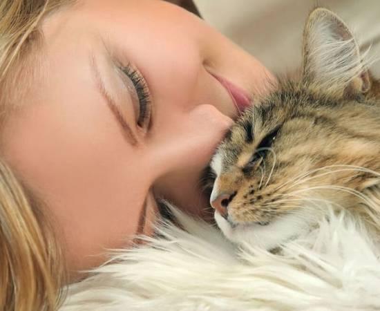 Девушка обнимает пушистую кошку