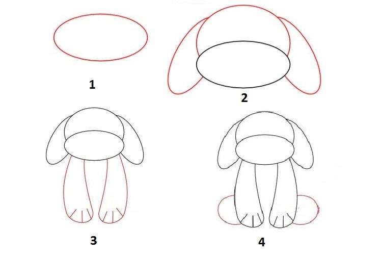 Поэтапное рисование собаки