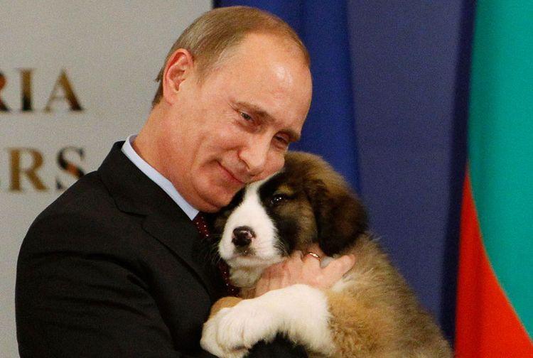 Путин обнимает щенка