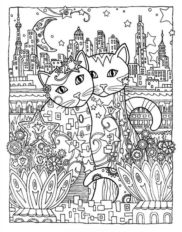 Антистресс-раскраска кошки