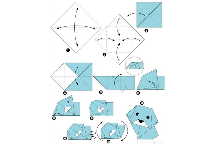 Оригами из бумаги собака схема 181
