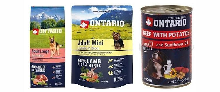 Линейка кормов для собак Онтарио