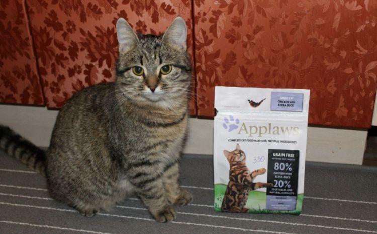 Кошка и упаковка корма Applaws