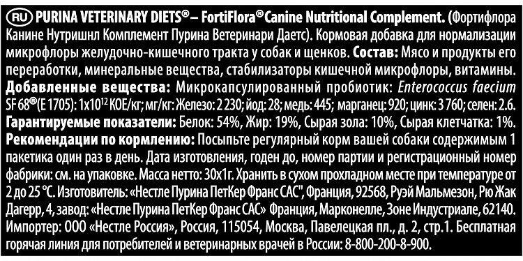 Состав Фортифлоры для собак