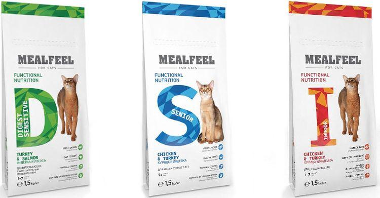 Линейки кормов для кошек Mealfeel