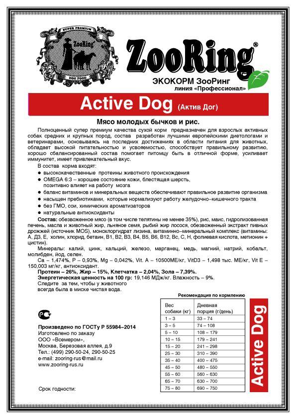 Состав корма для собак Зооринг
