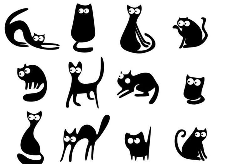 Силуэты кошек для вырезания