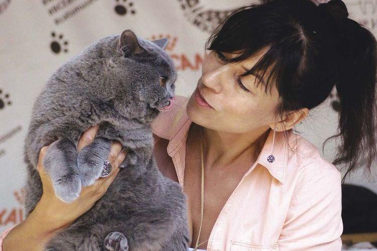 Женщина с кошкой британкой