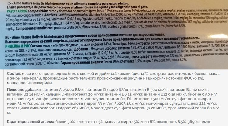 Состав корма Альмо натюр для кошек