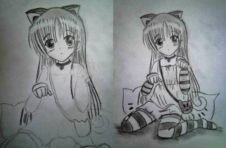 Девочка-кошка: этапы рисования