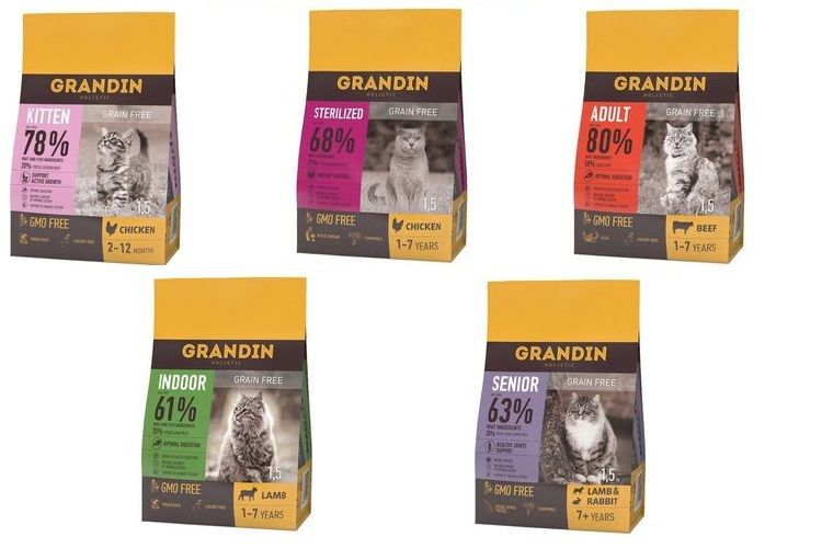 Ассортимент сухого корма Корм Grandin для кошек и котов