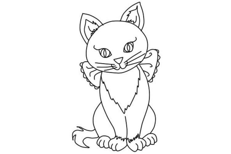 Как нарисовать сидячую кошку поэтапно