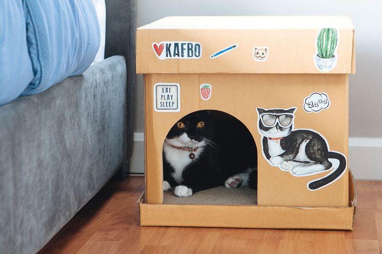 Картонный домик для кошек