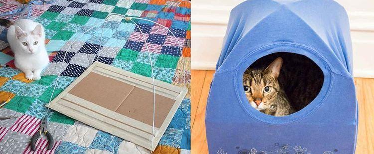 Домик для кошек из футболки