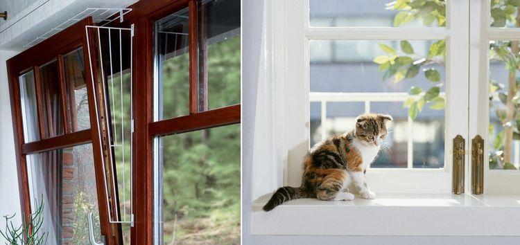 Защита на откидное окно от кошек