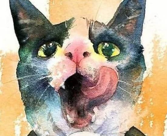 Морда кошки акварелью