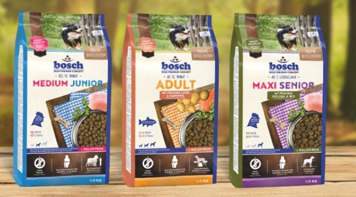Три вида корма Bosch для собак