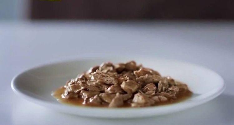 Корм Gourmet в тарелке