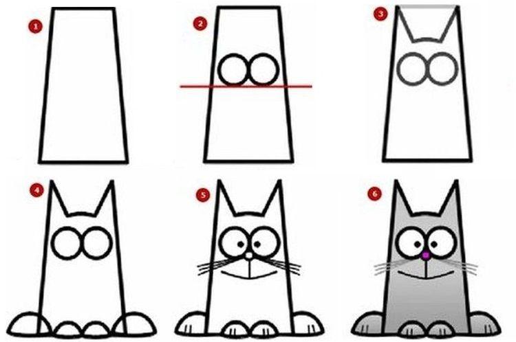 Кот из геометрических фигур