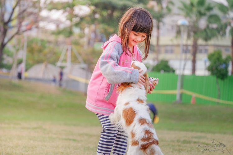 Девочка танцует с собакой