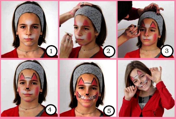 Пошаговая инструкция как нарисовать кошку на лице ребенка