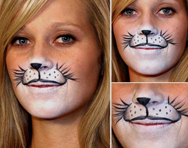Кошка на лице