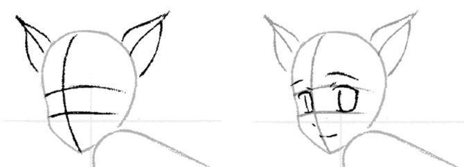 Как нарисовать девушку кошку аниме